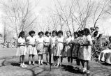 Photograph of female students in the school at the Ganado Presbyterian Mission in Ganado (Ariz.)