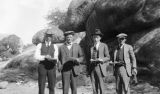 Photograph of Harry Shea, Mr. -?- Castleberry, Harry McCullough and R.J. Kean at Roosevelt Lake...