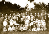 Photograph of an apparent extended family group at a reunion, possibly in Phoenix (Ariz.)