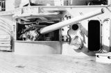 Photograph of a gun turret aboard the U.S.S. Arizona