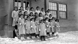 Photograph of a girls in uniforms on the Navajo Indian Reservation in Apache County (Ariz.)
