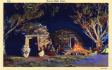 Photograph/color postcard of an artist rendering of a fire scene near or around the Navajo...