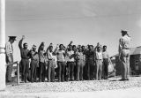 Photograph of Navajos swearing oath as they join the US Marine Corps at Fort Wingate (N.M.).