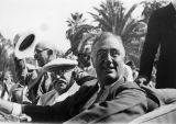 Photograph of Ray Gilbert, Arizona Governor George Hunt and President Franklin Roosevelt during a...