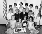 Photograph of Arizona Senator Clarence Carpenter with a group of students from the Arizona model...
