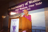 Photograph of Sandra Day O'Connor speaking at a celebration of women's suffrage in Phoenix (Ariz.)