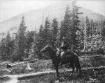 Photograph of Colonel James McClintock riding a horse in Flagstaff (Ariz.)