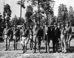 Photograph of the officers of the Arizona National Guard during an encampment at Flagstaff (Ariz.)