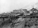 Photograph of an ore train accident at the Copper Queen Mine in Bisbee (Ariz.)