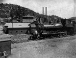 Photograph of a railroad locomotive in Crown King (Ariz.)