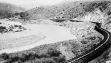 Photograph of the San Francisco River and railroad tracks in Clifton (Ariz.)