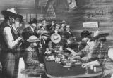 Photograph of an artist rendering of gamblers at a saloon on Whiskey Row in Prescott (Ariz.)
