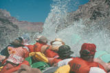 Photograph of boaters shooting the rapids on the Colorado River in the Grand Canyon (Ariz.).