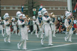 Photograph of a marching band at the Fiesta Bowl Parade in Phoenix (Ariz.).