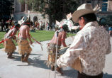 Photograph of Indian dancers performing at the Arizona State Capitol in Phoenix (Ariz.).