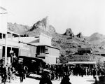Photograph, probably a reprint, of an early street scene in Oatman (Ariz.).