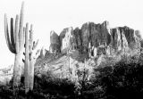 Photograph of the Superstition Mountains as seen from the Apache Trail.