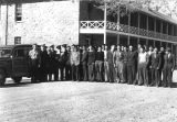 Photograph of Navajo men being inducted into the 920th Platoon United States Marine Corps at Fort...
