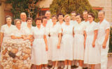 Photograph/color postcard of employees at the Sliger's Buckhorn Baths, a resort in Mesa (Ariz.)