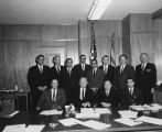 Photograph of twelve unidentified men, a group of attorneys involved with the Arizona Highway...