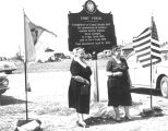 Photograph of Mrs. Austin Nunn and Joy Omer at the dedication of a plaque at Fort Verde Park in...