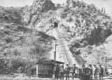 Photograph of the Longfellow Incline, a hill and mine railroad in Clifton (Ariz.)
