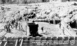Photograph of the construction of Boulder Dam on the Colorado River in Mohave County (Ariz.).