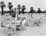 Photograph  of tombs and markers at the Pioneer Cemetery in downtown Phoenix (Ariz.).