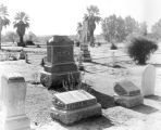 Photograph of tombs and markers at the Pioneer Cemetery in Phoenix (Ariz.).