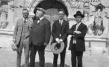 Photograph of Arizona Governor George Hunt and his travelling party at San Xavier Mission in...