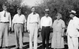 Photograph of (left to right) Russ Tatum, Robert Burke, H. S. McCluskey, Delph Carpenter, Mrs....