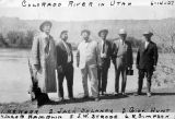 Photograph of (left to right) H. S. Kerr, Jack Delaney, Governor George W. P. Hunt, Jacob Hamblin, J. W. Strode and R....
