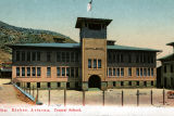 Photograph/colorized postcard of Central School in Bisbee (Ariz.)