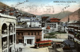 Colorized artist rendering of a Bisbee (Ariz.) street scene