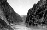 Photograph/postcard of Boulder Dam (Hoover Dam) site on the Colorado River in Mohave County (Ariz.)