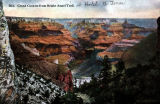 Colorized artist rendering/postcard of Bright Angel Trail at the south rim of the Grand Canyon...