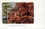 Colorized artist rendering/postcard of a group of tourists travelling into the Grand Canyon...