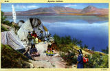 Colorized artist rendering of an Apache Indian settlement near Roosevelt Lake in Gila County...