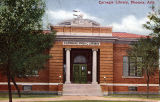Photograph/colorized postcard of the Carnegie Library in Phoenix (Ariz.).