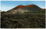 Photograph/colorized postcard of Sunset Crater (labelled Sunset Mountain) near Flagstaff (Ariz.)