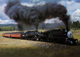 Photograph/color postcard of a steam driven locomotive pulling a train through the White Mountains...
