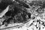 Photograph of a mine railroad leading to a mine tunnel in Yavapai County (Ariz.)