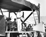 Photograph of a speaker at the dedication of the Welfare Sanatorium in Tempe (Ariz.), a Civil...