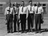 Photograph of R.A. Wells, J.E. Leavitt, Evan Rees, C.K. Moeur and R.J. Holland, employees of the...
