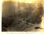 Photograph/birdseye view of the Longfellow Mine and the railroad which served it in Clifton (Ariz.)