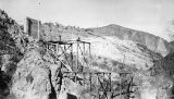 Photograph of the construction of the Mormon Flat Bridge on the Apache Trail in Maricopa County...