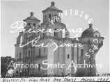 Photograph of the Caborca Mission in Tucson (Ariz.), taken during a trip by Arizona Governor...