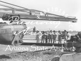 Photograph of Air Force officers looking at construction at Luke Air Force Base in Glendale (Ariz.)