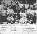 Photograph of a group of Apache Indians and Indian agents at  a meeting in Washington (D.C.)