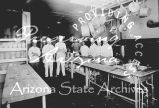 Photograph of the cooks at the Dining Room/Restaurant at the Fred Harvey Hotel in Barstow (Calif.)
